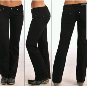 Rock and Roll Cowgirl Black Bootcut Riding Jeans